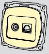 Механизм розетки TV+телефонной  РВtv-tf-Ov-I (слоновая кость)