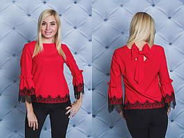 Нарядная женская блуза с бантом красная