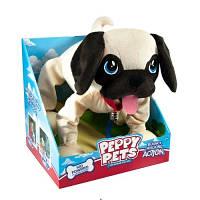 """Игрушка PEPPY PETS """"Веселая прогулка"""" - МОПС (размер 28 см, ошейник, поводок)"""