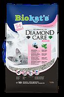 Песок Biokat's DIAMOND CARE FRESH 8л- комкующийся наполнитель для кошачьего туалета (с ароматом пудры)