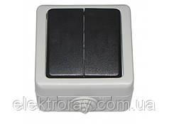 Выключатель двойной IP 54 Luxel Debut серый