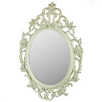 """Настенное овальное фисташковое зеркало """"Лесная фея"""", 84х59 см."""