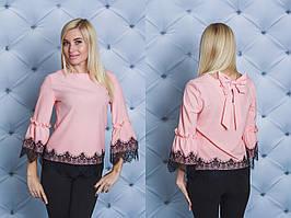 Нарядная женская блуза с бантом персик