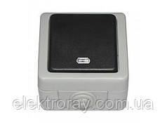 Выключатель с подсветкой IP 54 Luxel Debut серый
