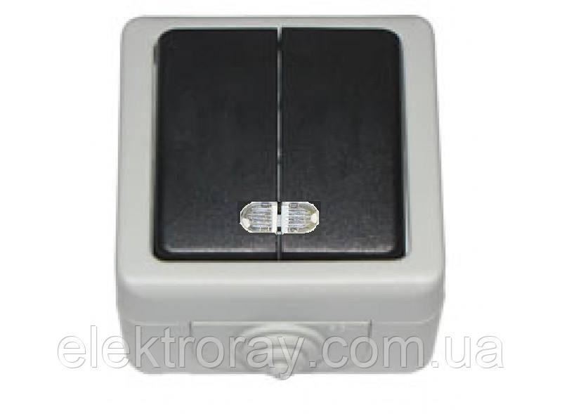 Выключатель двойной с подсветкой IP 54 Luxel Debut серый