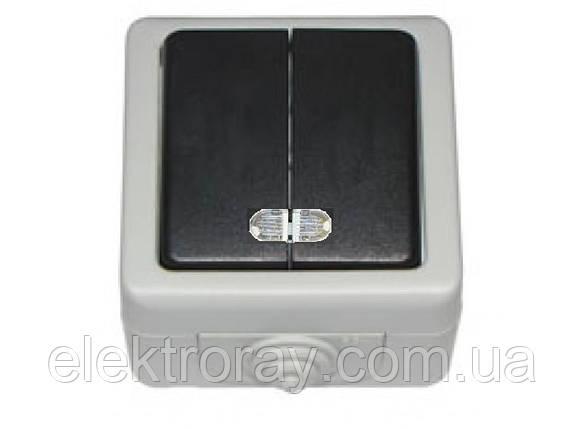 Выключатель двойной с подсветкой IP 54 Luxel Debut серый, фото 2