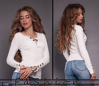 Стильная женская белая кофта.  Арт-12360