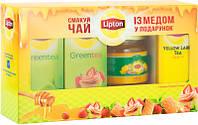 Чай Lipton 75 пакетов+банка меда в подарок.Оптом