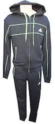 Спорт костюм мужской на флисе с капюшоном прямые adidas (зима)