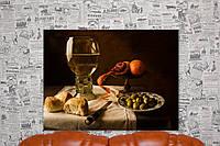 Натюрморт с вином, фруктами и хлебом в стиле 16 века. 80х60 см.