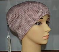 Модная вязаная шапка чулок розового цвета