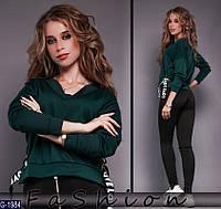 Супер стильная женская темно зеленая кофта с лентами.  Арт-12363