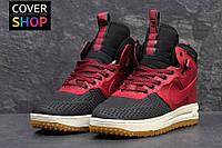 Кроссовки зимние  Nike Lunar Force LF1 black-Original, красные, материал - кожа, утеплитель - натуральный мех
