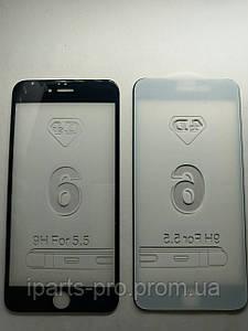 Стекло защитное для iPhone 6 плюс 4D черное 0,2 мм