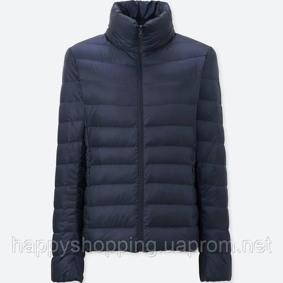 Женская темно-синяя легкая куртка на пуху ultra light down осень/весна  Uniqlo (пакуется в мешочек)