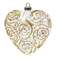 Елочное украшение в форме сердца, 10см