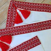 Крыжма большая на крестины на домотканном полотне с красной вышивкой (100х120см)