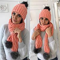 Зимний комплект женский шарф + шапка