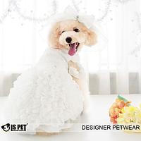 Свадебное платье для собаки с фатой-Белый, фото 1