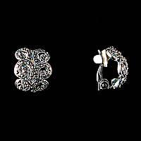 """Серьги объемные, с вензелями, декорированными стразами\ под """"серебро""""/ 17*15mm"""