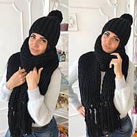 Зимний комплект вязаная женская шапка + вязаный женский шарф