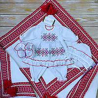 Красивый набор на крестины для девочки с крыжмой и мешочком для первого локона