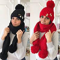 Объемный вязаный женкий комплект шапка и шарф
