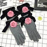 Очень теплые коттоновые женские перчатки с шерстью