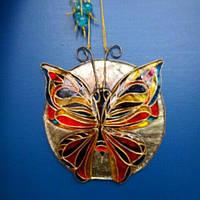 Бабочка из стекла, витражная, объемная, фьюзинг, пано на стену!