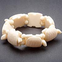 """Браслет на резинке  Черепахи пластик цвет """"слоновая кость"""" """"звено"""" 24х30мм"""