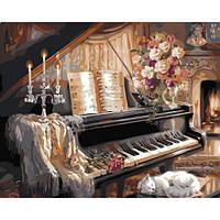 """Картина раскраска по номерам """"Музыкальный вечер у камина"""" набор для рисования"""
