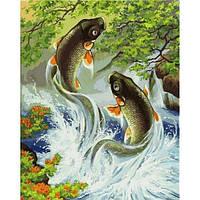 """Картина раскраска по номерам """"Японские карпы"""" набор для рисования"""