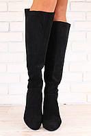 Демисезонные женские сапоги, замшевые, с утеплителем, черные, на небольшом каблуке, сверху - стрейч
