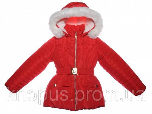 Куртка для девочки зимняя,  ярко-красная, Garden baby, Размеры 116, 122