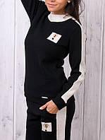 Турецкий стильный тёплый спортивный костюм женский ангора чёрный, фото 1