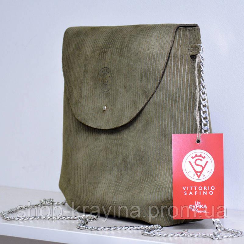 Кожаная сумка VS129  swamp 28х25х9 см