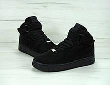 Зимние кроссовки Nike Air Force  Black/Blackс мехом, мужские кроссовки, фото 3