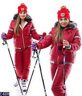 Теплый красный спортивный костюм с искусственным мехом, батал. Арт-10224