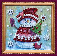 Набор для вышивки бисером мини-магнита «Зимний гость»