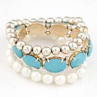 Набор браслетов жемчуг, золотые бусины, голубые камни , фото 1