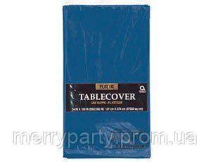 Скатерть синяя полиэтилен 140*275 см