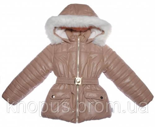 Куртка для девочки зимняя,  светло-коричневое, Garden baby, Размер 122