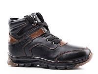 Детская зимняя обувь 2017. Детская кожаная зимняя обувь бренда Kangfu для мальчиков (рр. с 31 по 36)