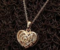 """Колье """"Лазурь"""" кулон в виде сердца покрыт золотом"""