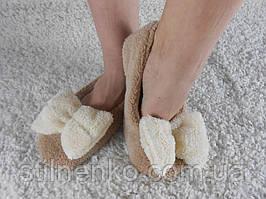 Домашние махровые тапочки-балетки с бантиком