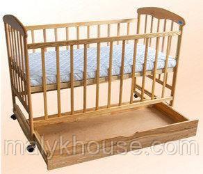 Детская кроватка для новорожденных с ящиком Наталка светлая