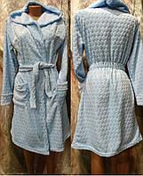 Женский махровый халат на запах с капюшоном 42-48 р., женские халаты оптом от производителя