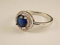 Кольцо Родий с синим цирконом в оправе Размеры 18,19,19.5