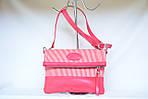 Кожаный клатч VS131 pink stripes 28х20 см, фото 2