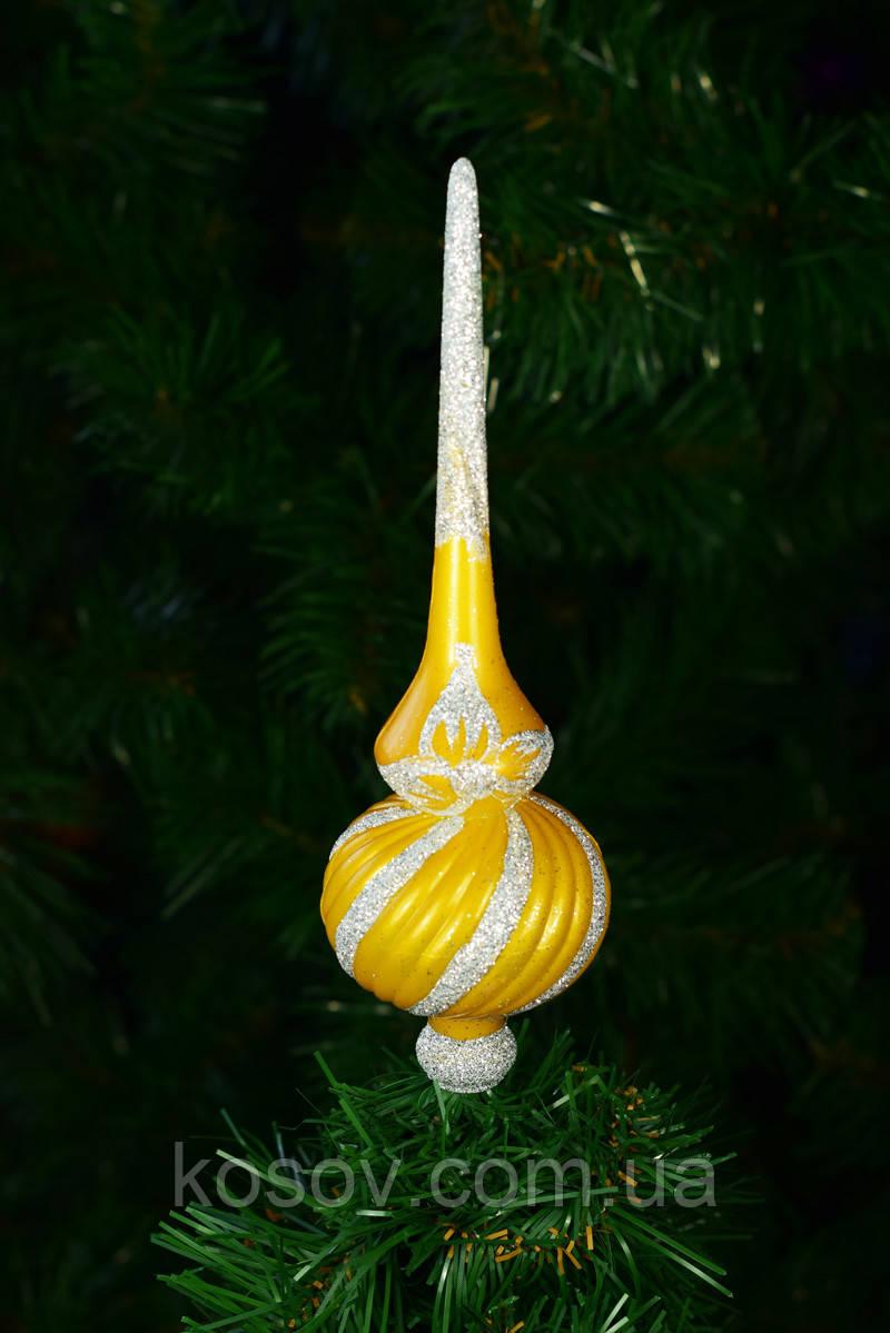 """Верхушка на елку """"Спираль"""" 25см (желтая)"""